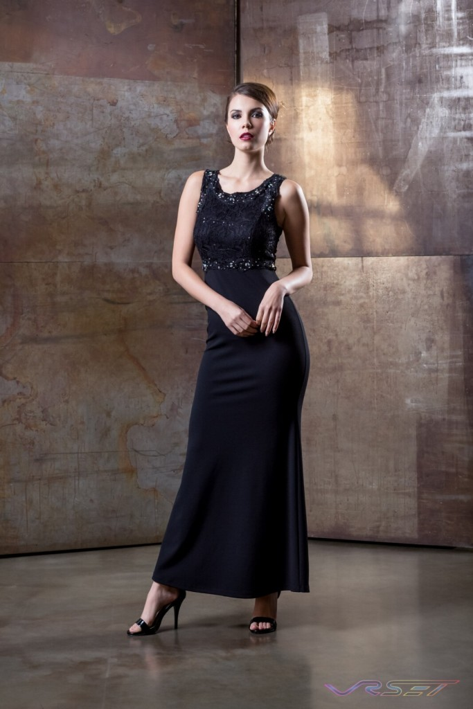 Model Sabrina Janssen Black Sequin Top Evening Dress Designer Bonnie Kim Zoe Couture Studio Catalog Fashion Photography LA