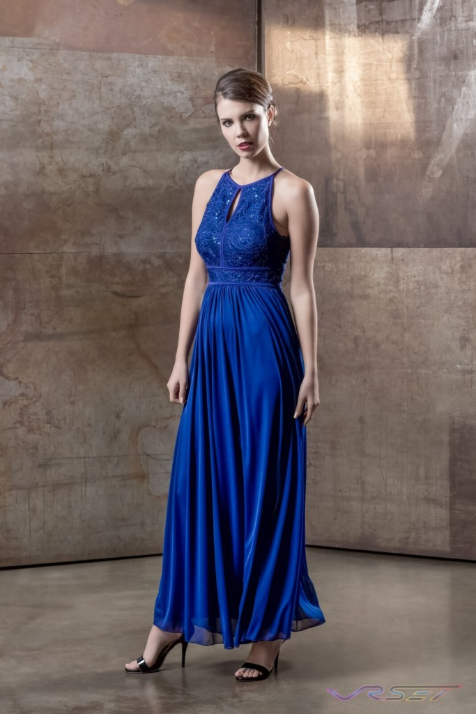 Model Sabrina Janssen Blue Sequin Top Draped Evening Dress Designer Bonnie Kim Zoe Couture Studio Catalog Fashion Photography LA
