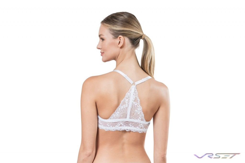 Amazon Shopify eCommerce White Back Laced Bra Detail Lamour Intimates Lingerie Studio Model Photography Los Angeles