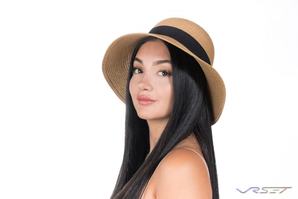 Amazon Shopify eCommerce DelrayPalm Khaki Summer Hat Brunette Model