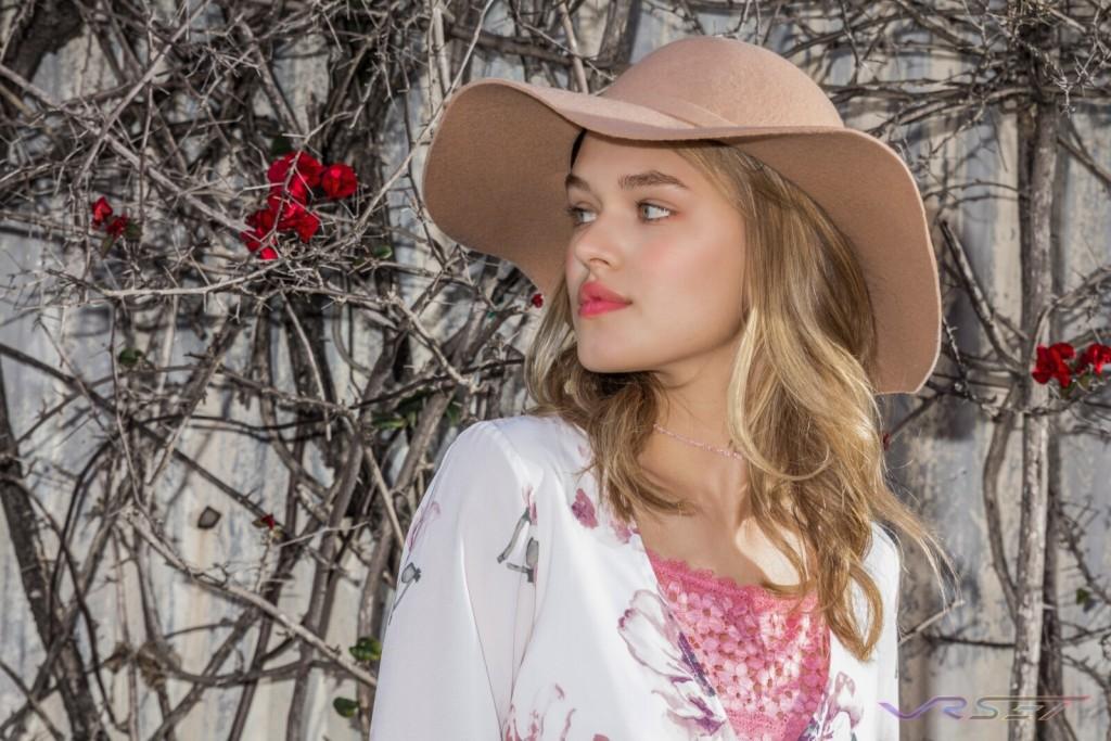 Lookbook Female Model Peach Hat Los Angeles