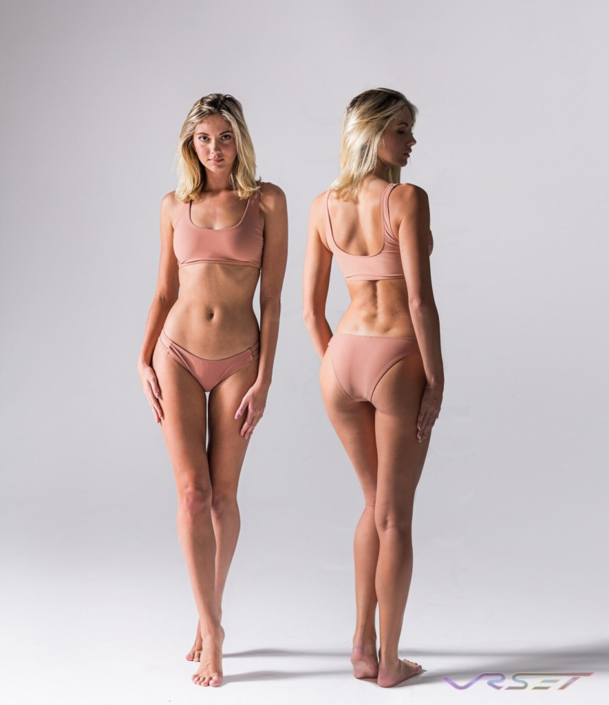 Model Olga Piskunova Double Strap Peach Sports Bra Panty Set Amazon Shopify ecommerce Studio Fashion Photographer Los Angeles